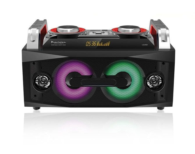 PRECISION AUDIO DYNAMIC PARTY BOX BLUETOOTH, ALL IN 1 AUDIO SPEAKER DJ/KARAOKE SYSTEM, LED LIGHTS