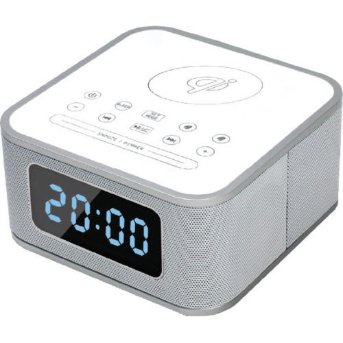 Qi Wireless Charging Station with Digital Alarm Clock & Bluetooth Speaker