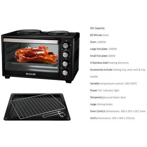 MAXIM KITCHENPRO 30L PORTABLE ELECTRIC OVEN WITH HOTPLATES MOHP30