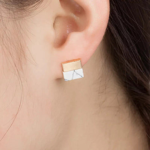 Square Gold & Faux Marble Studs