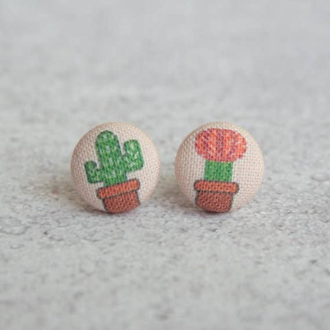 Cactus Mismatched Cloth Button Earrings