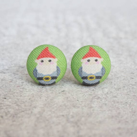 Fabric Button Earrings - Gnomes