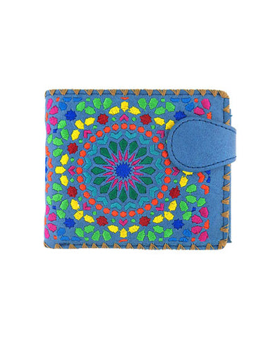 Vegan Leather Moroccan Pattern Embroidered Wallet