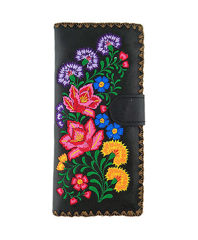 Mexican Flora Vegan Leather Large Embroidered Wallet