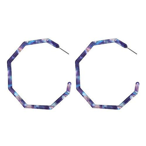 Resin Octagonal Hoops - Blue