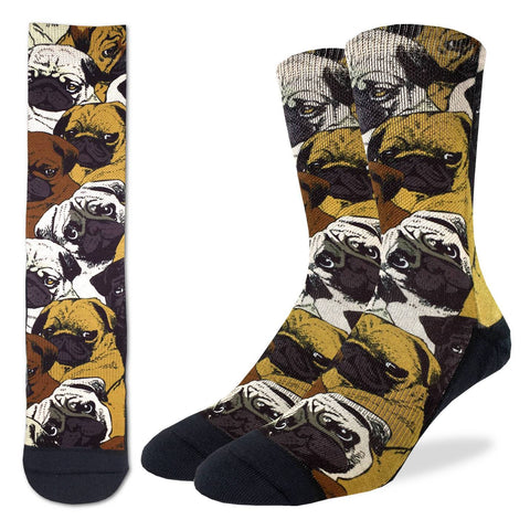 Social Pugs Active Fit Socks - Men's Sizing