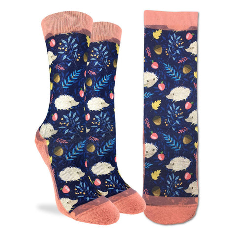 White Hedgehog Active Fit Socks - Women's Sizing