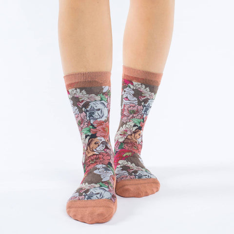 Floral Bulldog Active Fit Socks - Women's sizing