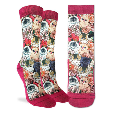 Floral Cats Active Fit Socks - Women's sizing