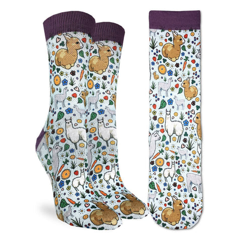 Floral Llama Active Fit Socks - Women's Sizing