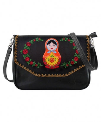 Matryoshka Doll Pattern Embroidery Vegan Purse
