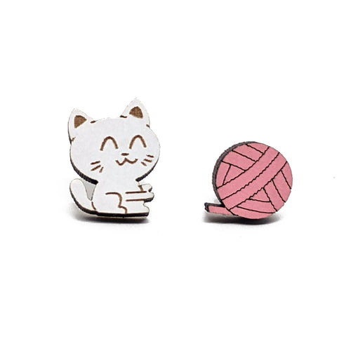 Wooden Cat & Yarn Studs
