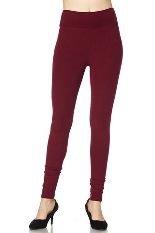 Burgundy Leggings with Wide Waist Band - One Size & One Size Plus