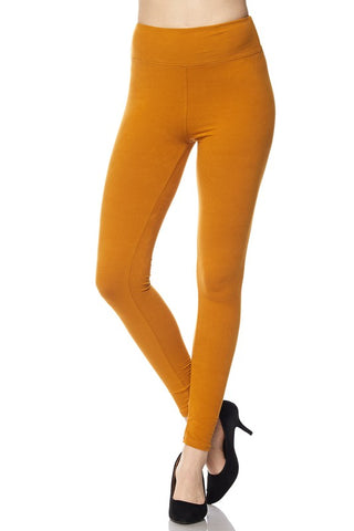 Mustard Leggings with Wide Waist Band - One Size & One Size Plus