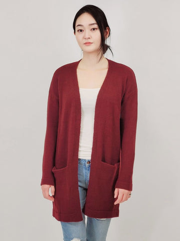 Open Front Mid-Length Cardigan with Pockets