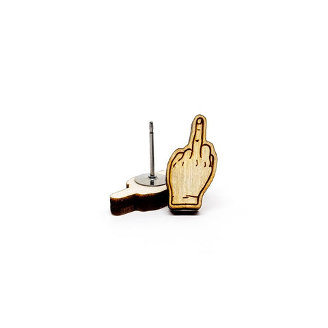 Wooden Middle Finger Studs