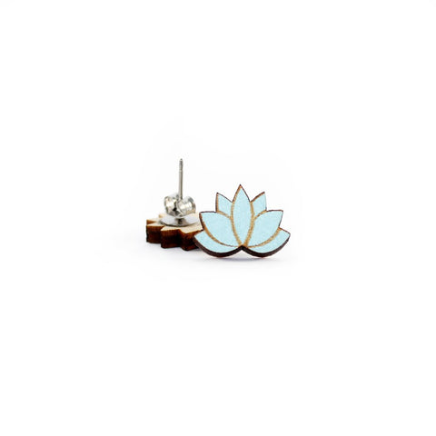 Wooden Lotus Flower Studs