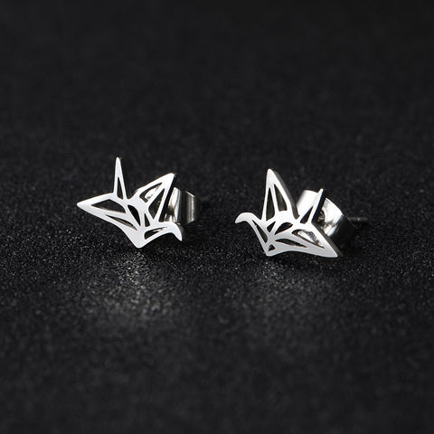 Stainless Steele Paper Plane Studs