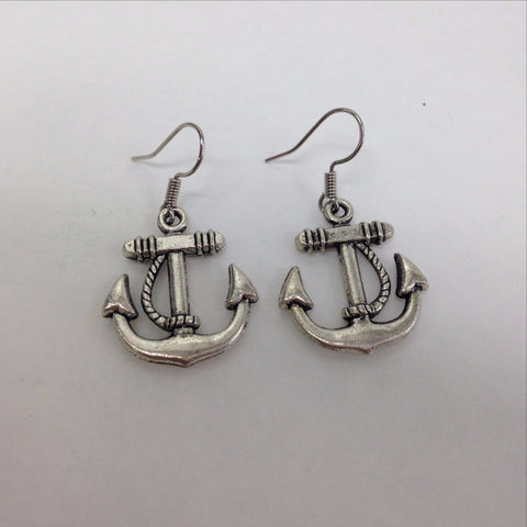 Large Anchor Charm Earrings