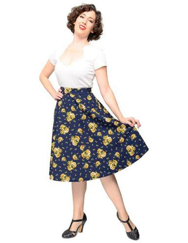 Navy with Yellow Flowers Circle Skirt