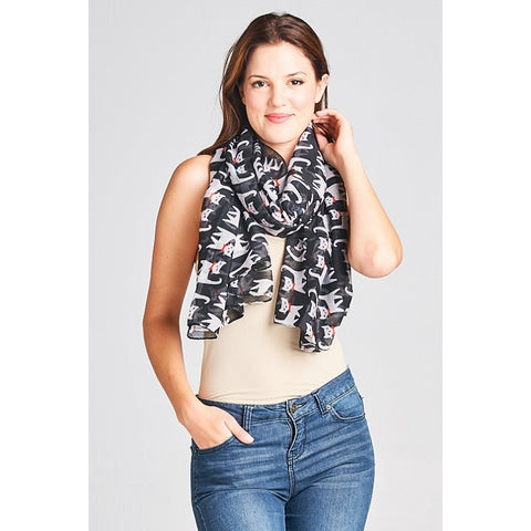 Cat Print Light Weight Scarf