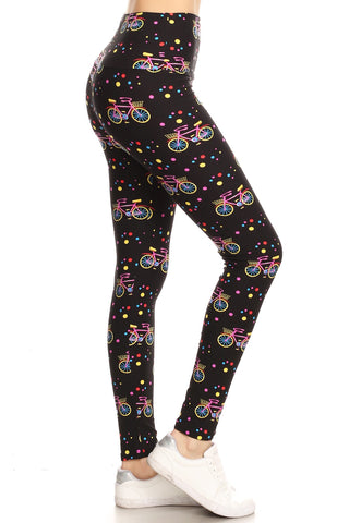 Bicycle Print High Waisted Leggings