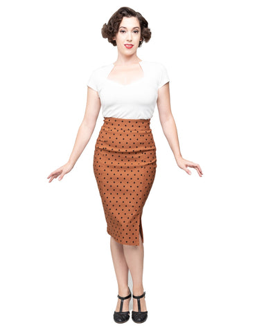 Polka Dot Pencil Skirt - Rust