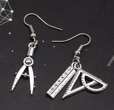 Compass & Protractor Mismatched Charm Earrings
