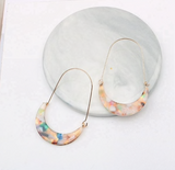 Acrylic Crescent Moon Oval Hoops
