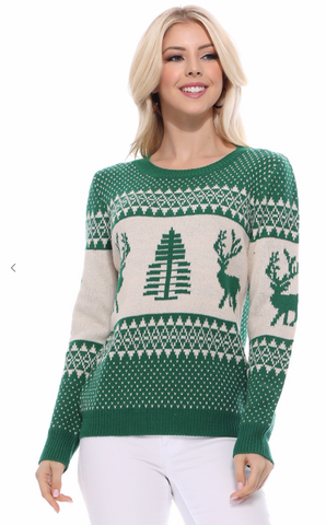 Holiday Reindeer Pullover Sweater - Assorted Colours
