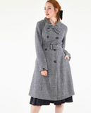 Houndstooth Winter Trench Coat with Detachable Bow Detail