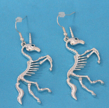 Unicorn Skeleton Charm Earrings
