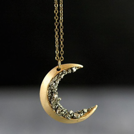 Crushed Crystal Gold Crescent Moon Necklace
