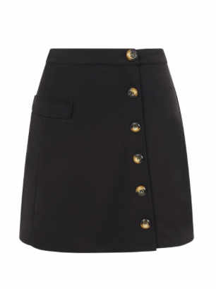 Beatrice Button Detail Mini Skirt - Black