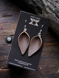 Pinched Leaf Recycled Leather Earrings