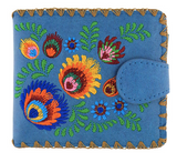 Vegan Leather Floral and Feather Embroidered Wallet - Asst colours