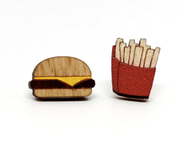 Wooden Burger & Fries Studs