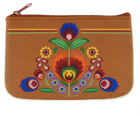 Floral embroidered vegan leather change purse