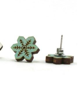 Wooden Snowflake Studs