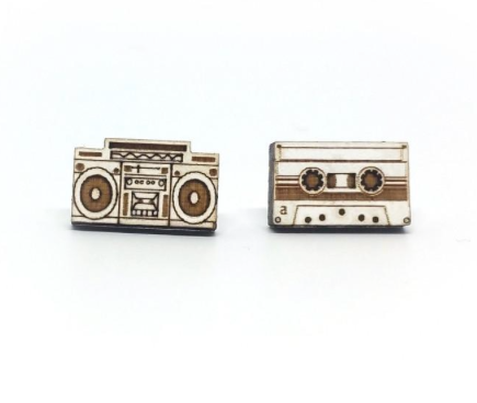 Wooden Boombox & Casette Tape Studs