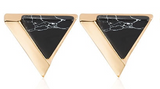 Triangle Gold & Faux Marble Studs