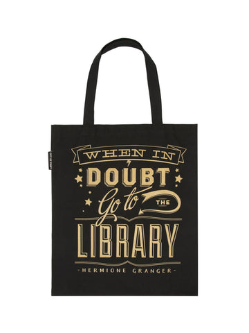 When in Doubt, Go to The Library Canvas Tote