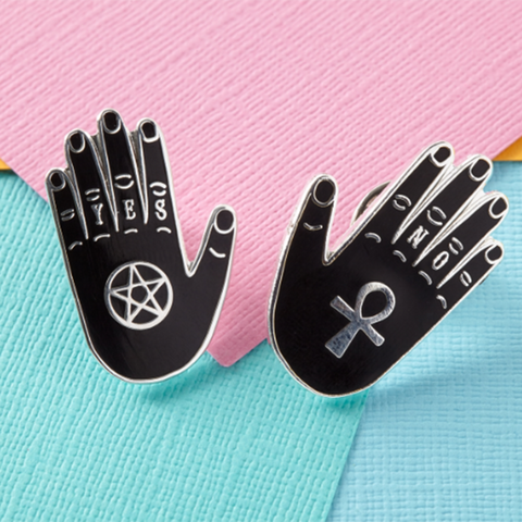 Yes & No Hands Enamel Pin Set