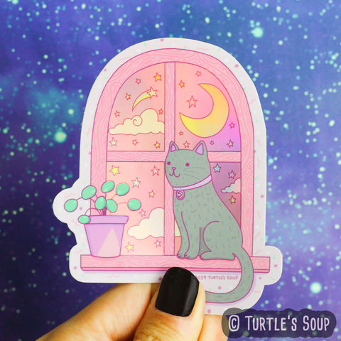 Stargazing Cat Holographic Sticker