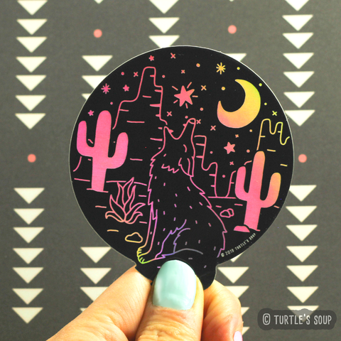 Desert Coyote Holographic Sticker