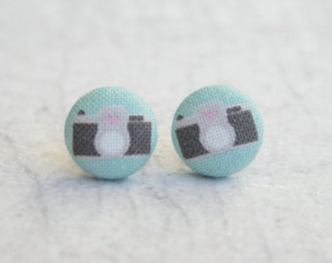 Camera Cloth Button Earrings