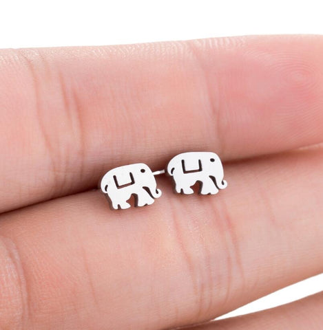 Lucky Elephant Stainless Steel Studs