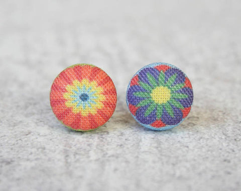 Pop Flowers Cloth Button Earrings