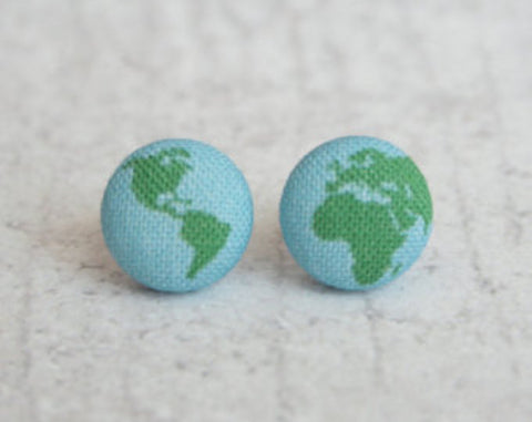 Planet Earth Cloth Button Earrings