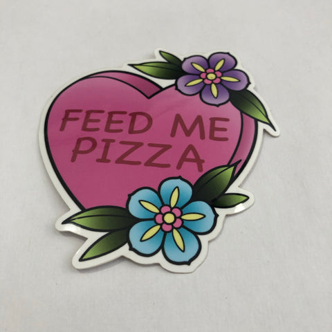 Feed Me Pizza Tattoo Flash Style Sticker